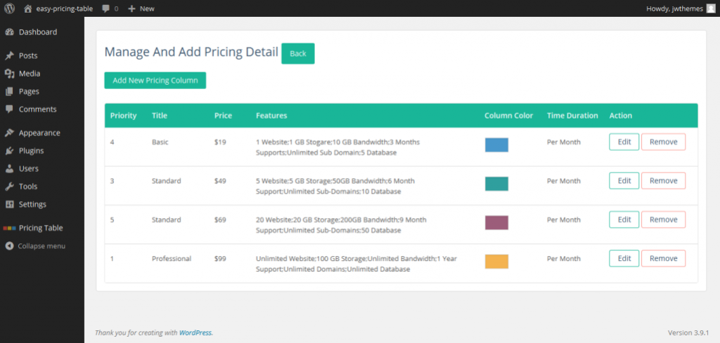 Create Beautiful Pricing Table in WordPress with Easy Pricing Table2